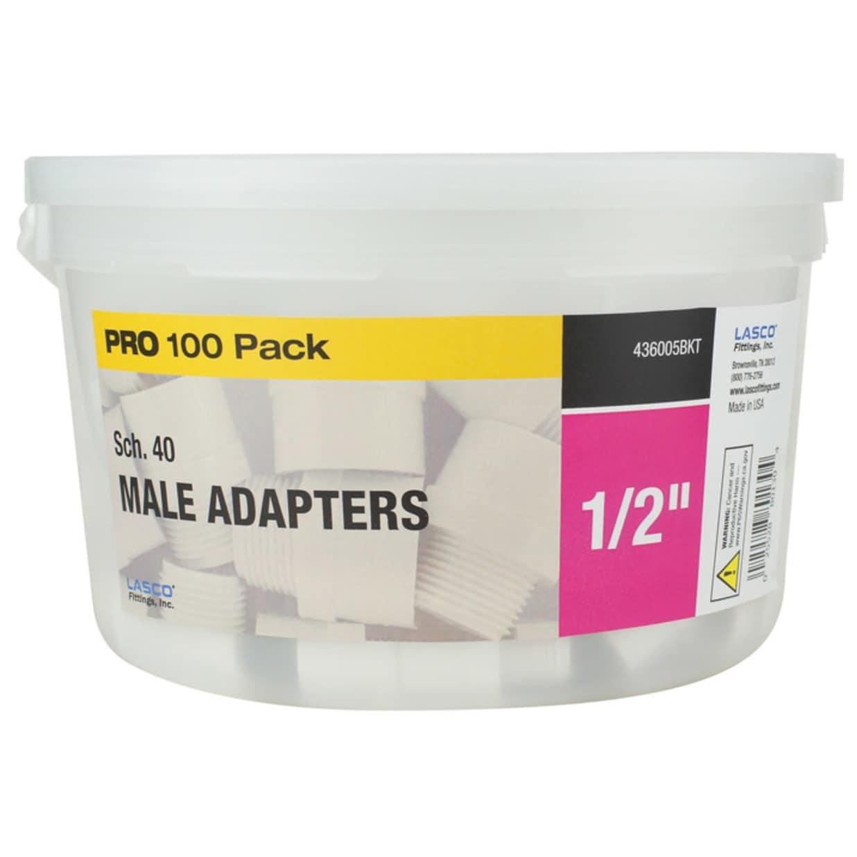Lasco 436005BKT PRO Schedule 40 PVC Male Adapters, 1/2 x 1/2