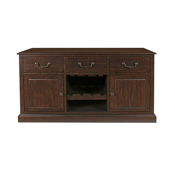Shop 3 Drawer Wooden Server With 2 Cabinets And Wine Rack