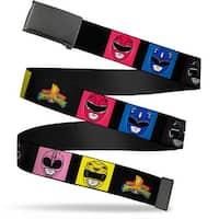 Blank Black  Buckle Power Rangers Face Blocks2 Mmpr Logo Webbing Web Belt