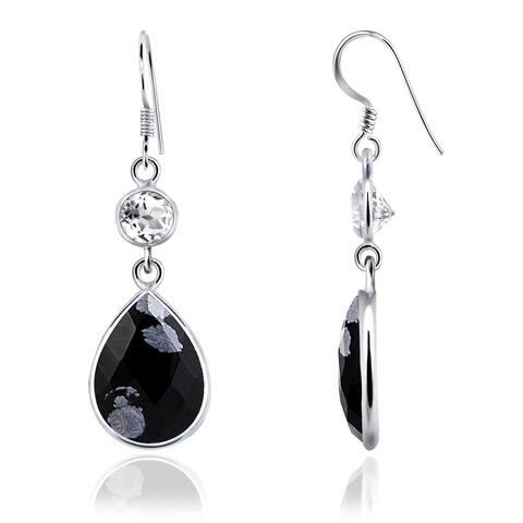 Snowflake Obsidian, Topaz Sterling Silver Pear Dangle Earrings by Essence Jewelry
