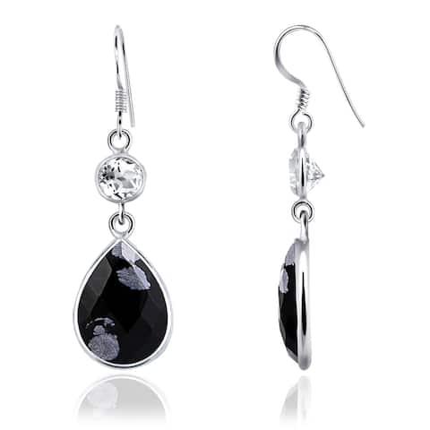 Snowflake Obsidian Sterling Silver Pear Dangle Earrings by Orchid Jewelry