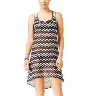 Miken Womens Chevron Strappy Back Cover Up Dress Black and White Small S