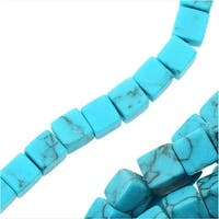 Turquoise Gemstone Beads, Cubes 4x4mm, 15.5 Inch Strand, Blue Turquoise