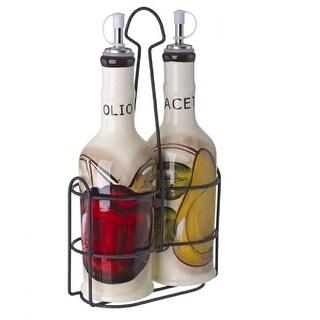 Cucina Italiana Ceramic Oil and Vinegar Set 14 Oz. with Metal Rack, White - 4 x 4 x 9 inches