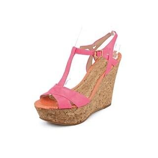 Juicy Couture Dakota Women Open Toe Leather Wedge Heel