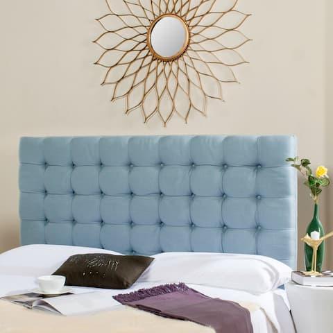 SAFAVIEH Lamar Slate Blue Upholstered Tufted Headboard (King)