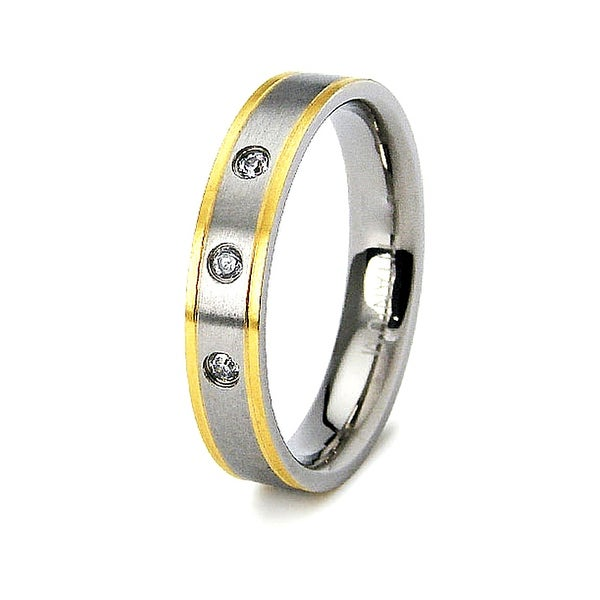 4Mm Gold-Plated Titanium Ring (Sizes 6-8)