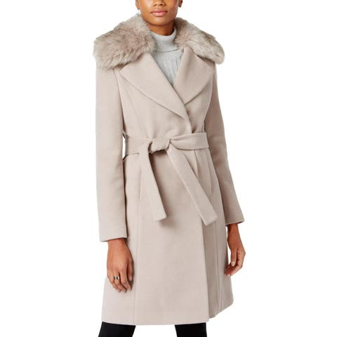 T Tahari Womens Fiona Wrap Coat Wool Faux Fur Trim