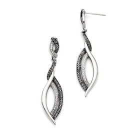 Chisel Stainless Steel Antiqued CZ Post Dangle Earrings