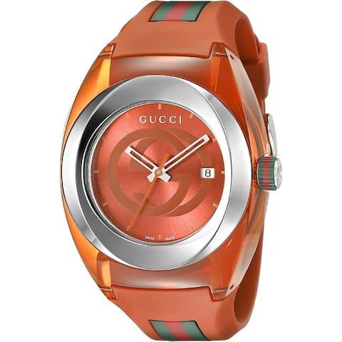 Gucci Unisex YA137108 'Sync' Multicolored Silicone Watch - Orange