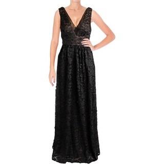 Vera Wang Womens Evening Dress Silk Applique