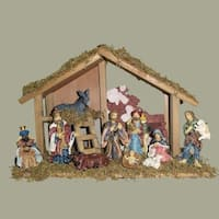 """Set of 10 Christmas Stable With Nativity Figures and Baby Jesus 15"""" - brown"""