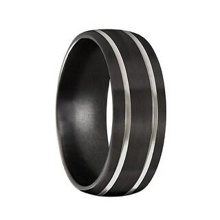 Men's Black Titanium Wedding Band Brushed Satin Finish by Crown Ring- 8mm
