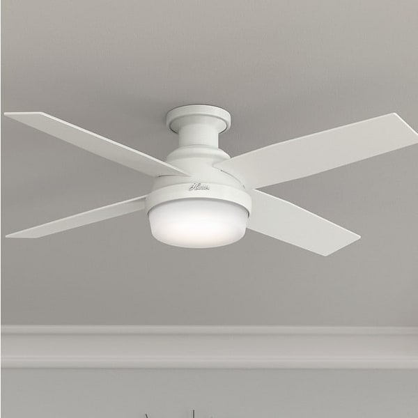 "Hunter 52"" Dempsey Low Profile Ceiling Fan with LED Light Kit and Handheld Remote. Opens flyout."