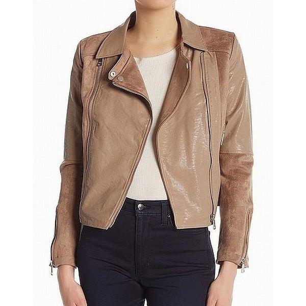 VIGOSS Brown Faux-Leather Women's Size Medium M Motorcycle Jacket