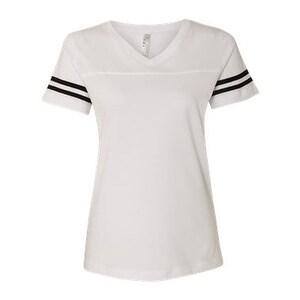 Women's Football V-Neck Fine Jersey Tee - White Solid/ Black - L