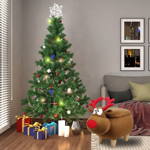 Kids Ottoman with Storage, Foot Stand and Wooden Legs,Reindeer-1 Pcs