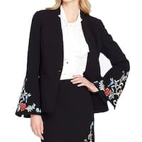 Tahari by ASL Black Womens Size 10 Embroidered Bell-Sleeve Jacket