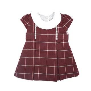 Coquelicot Baby Girls Red Short Sleeve Collar Trim Detail Dress