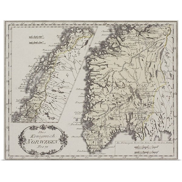 """""""Antique map of Norway"""" Poster Print"""