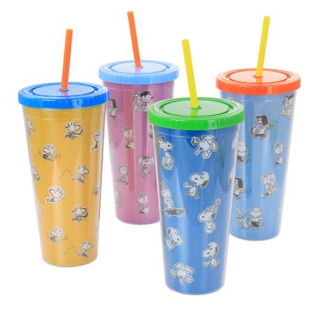 Gibson Peanuts 70th Anniversary 4 Piece Plastic 23.6oz Tumbler set with Lid and Straw in Assorted Colors