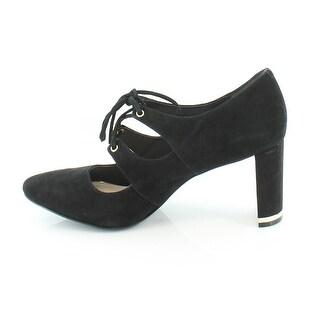 Alfani Womens BINDDI Leather Closed Toe Classic Pumps, Black, Size 7.5