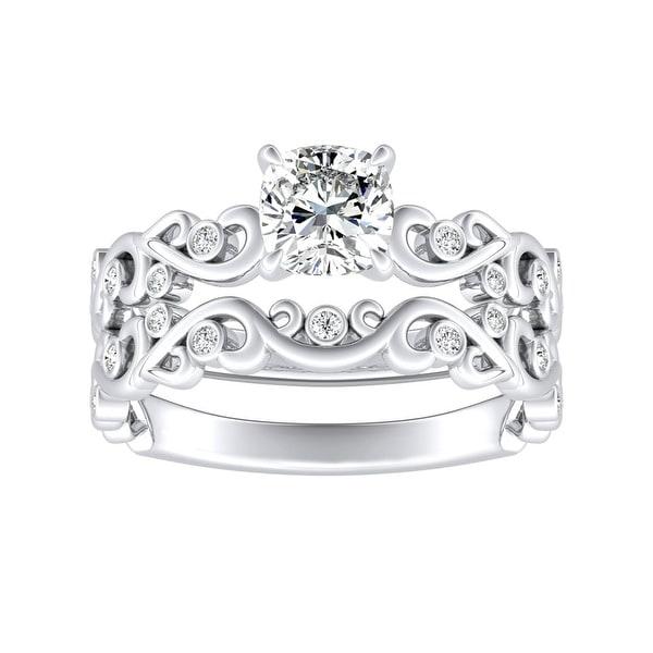 Auriya 1ct Vintage Cushion-cut Moissanite and Diamond Engagement Ring Set 14k Gold. Opens flyout.