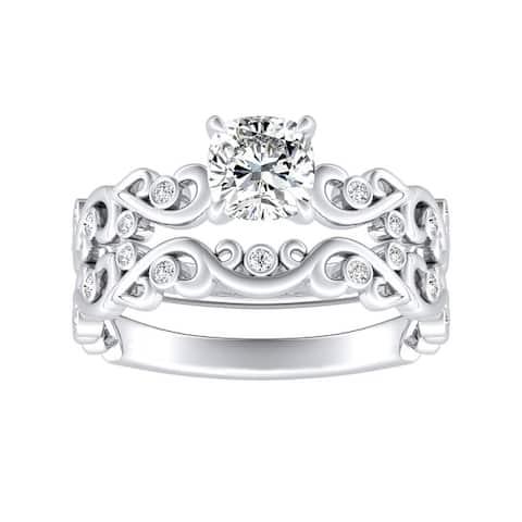 Auriya 1ct Vintage Cushion-cut Moissanite and Diamond Engagement Ring Set 14k Gold