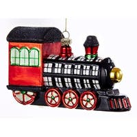 Kurt Adler Black White Red Plaid Patterend Train  Holiday Ornament