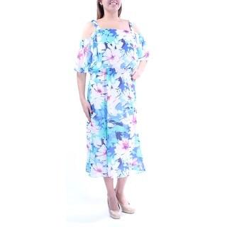 Womens White 3/4 Sleeve Below The Knee Wear To Work Dress Size: 14