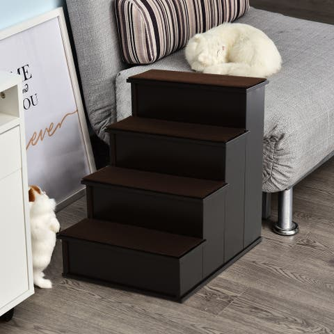 PawHut 4-Step Wooden Pet Stair Pet Steps with Soft Short Plush Cushions on Each Step, Dark Coffee - Brown - 4 Stair