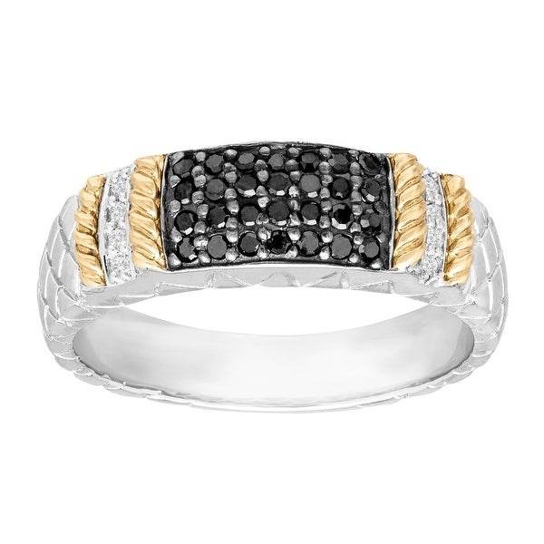 1/5 ct Diamond Cable Ring in Sterling Silver and 14K Yellow Gold - Black
