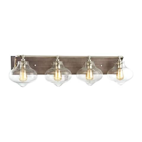 Four Light Schoolhouse Bath Vanity with Exposed Bulb and Rectangular Back-Plate Polished