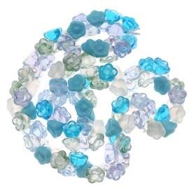 Czech Glass Flower Drops Aqua Blue Serenity Color Mix 7mm (100 Beads)