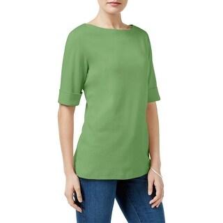 Karen Scott Womens Casual Top Cotton Elbow Sleeves