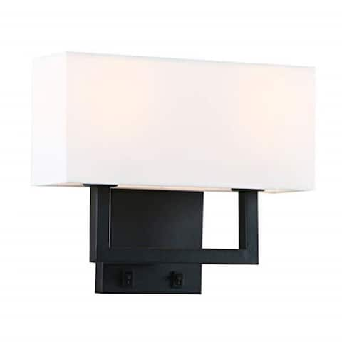 2 light black wall light fixture with white textile shade