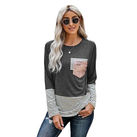 Cali Chic Women's Long Sleeve Shirt Celebrity Stripe Pocket Sequins Splicing O-neck Top