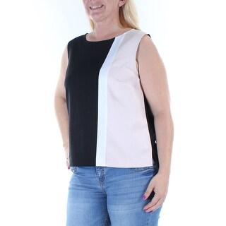 JONES NY $59 Womens New 8357 Black Beige Color Block Sleeveless Top 12 B+B