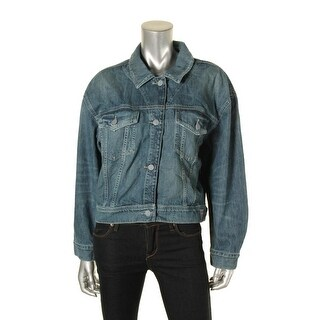 Guess Womens Denim Jacket Cropped Button-Down Front