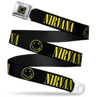 Nirvana Smiley Face Full Color Black Yellow Nirvana Smiley Face Black Seatbelt Belt