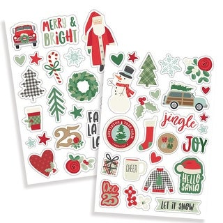 "Merry & Bright Puffy Stickers 4""X6"" 2/Pkg-"