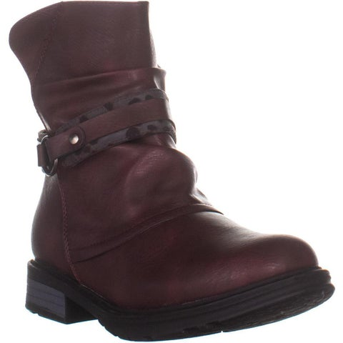 Easy Street Logan Zip Up Ankle Boots, Burgundy - 8 US