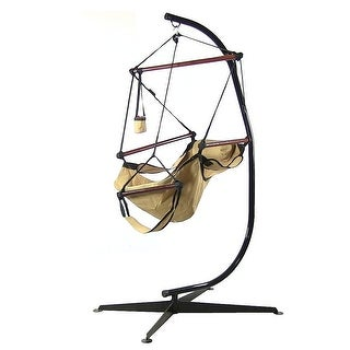 Sunnydaze Hanging Hammock Chair & Hammock Stand Combo W/ Pillow & Drink Holder