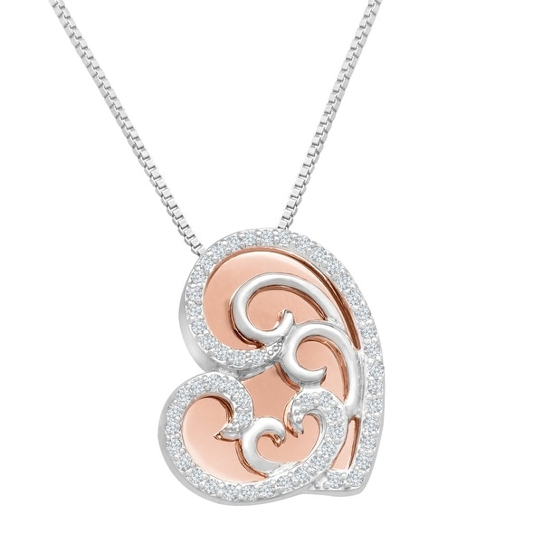 1/4 ct Diamond Overlay Heart Pendant in Sterling Silver & 10K Rose Gold