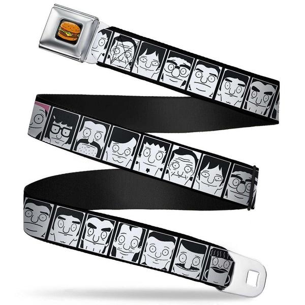 Hamburger Full Color Black Bob's Burgers 15 Character Blocks White Black Seatbelt Belt