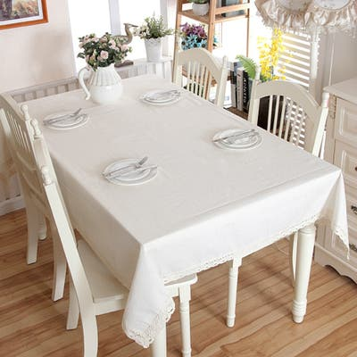 """Enova Home 54""""x 78"""" White Thicken Natural Simple 100% Cotton and Linen Rectangle Tablecloth"""