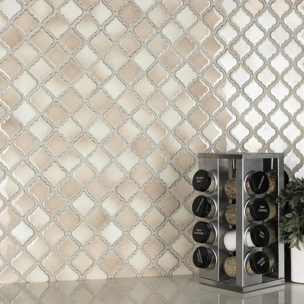 "SomerTile Hudson Tangier Truffle 12.38"" x 12.5"" Porcelain Mosaic Tile. Opens flyout."