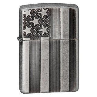Zippo 86-28974 American Flag Armor Antique Silver Plate