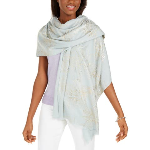 INC International Concepts Women's Line-Work Foil Flower Wrap White Size Regular