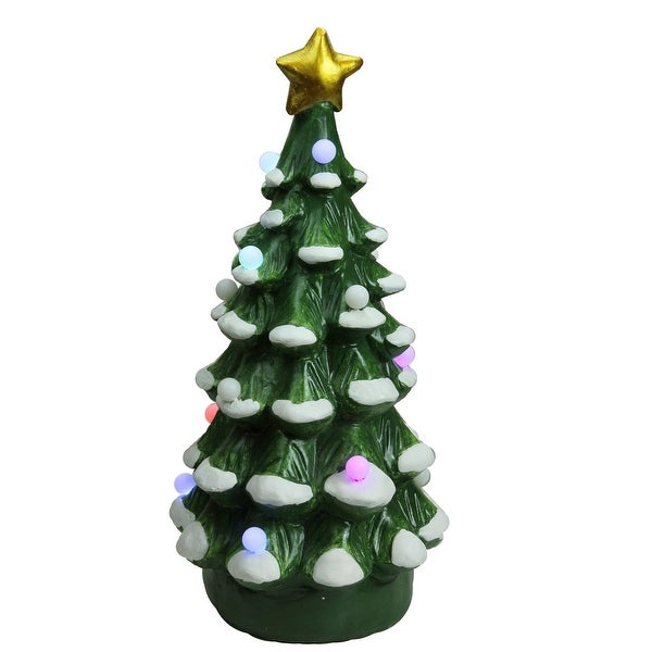 "18.25"" Christmas Morning LED Lighted Musical Christmas Tree Tabletop Figure - WHITE"